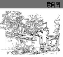 园林建筑钢笔手绘