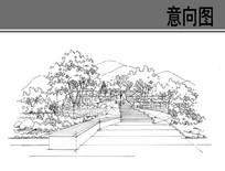 园路景观手绘线稿