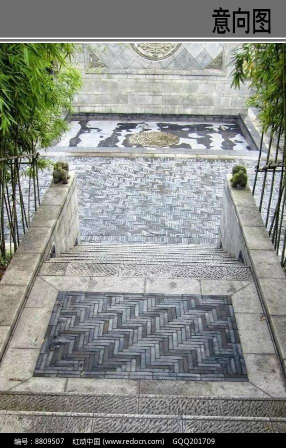 中式庭院铺装意向图图片