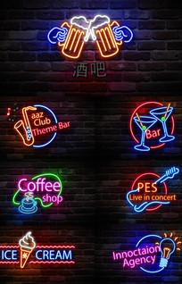 标志图案变成时尚霓虹灯AE模板