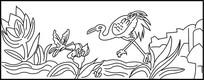 仙鹤蝴蝶雕刻图案