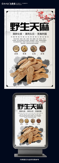 中国风天麻中药海报