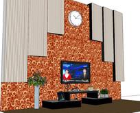 带花纹图案的电视背景墙