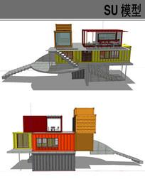 集装箱改造楼梯房 skp