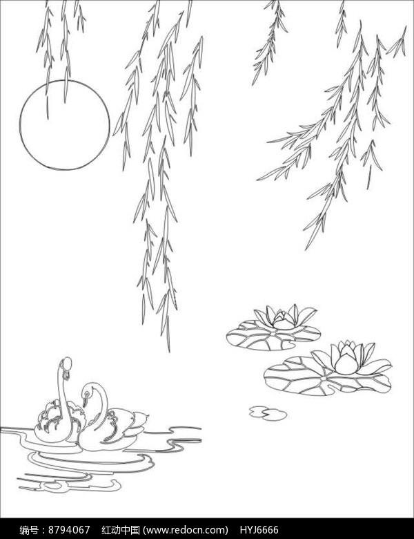 柳叶雕刻图案图片