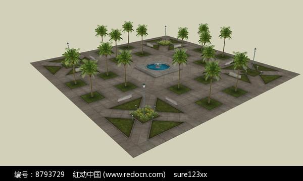 树阵小广场su模型skp素材下载_线条全模v模型as3.0绘制景观图片
