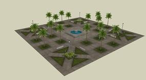 树阵小广场su模型