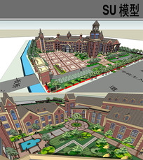 特色学校SU模型 skp