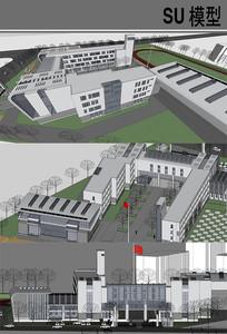 现代小学建筑 skp
