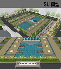 校园广场完整景观模型 skp