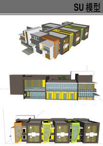 新潮的幼儿园建筑 skp