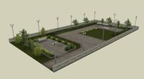 休闲小广场su模型