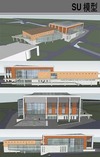 学院风体育馆设计 skp