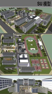 中式风格中学方案设计 skp