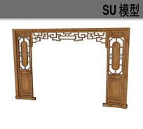 中式隔断带洞门SU模型