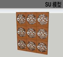 中式花纹屏风隔断
