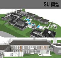 中式科研园区模型