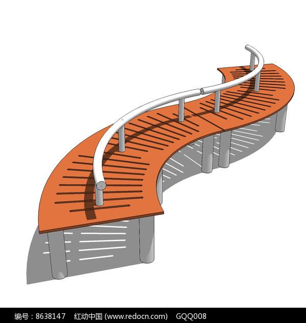 波浪形景观坐凳su模型图片