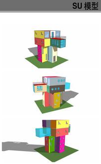 彩色集装箱多层建筑
