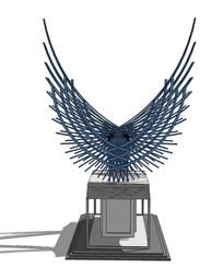 抽象翅膀雕塑su模型