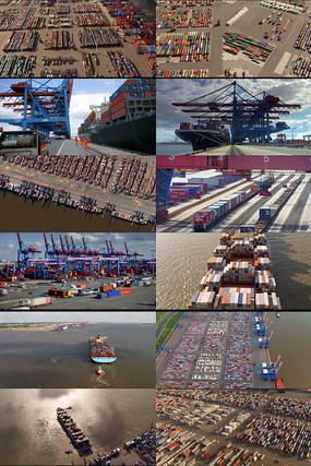 港口码头货轮动态视频
