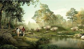 公园滨水木栈道景观效果