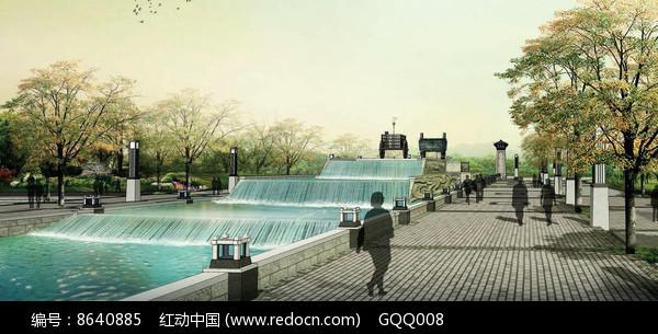 公园入口水景效果图图片