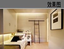 黑白简易小卧室效果图