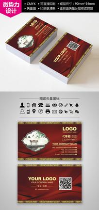 红色中国传统古典风格名片