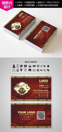红色中国古典风格名片