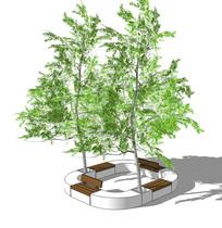 环形景观坐凳结合种植池 skp