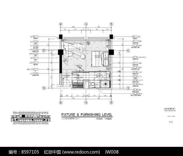 酒店大标准房平面图dwg素材下载 室内装修设计图片