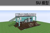 集装箱咖啡馆模型 skp