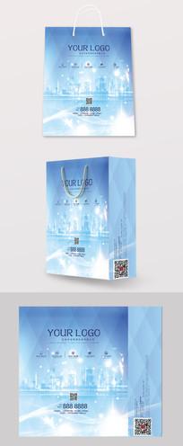 蓝色商务科技手提袋高档设计