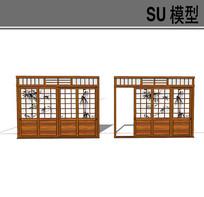 日式古典滑动四扇门