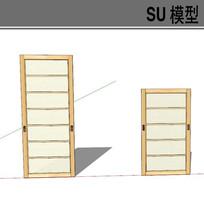 日式木质滑动门模型