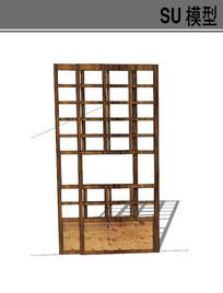 日式木质框架滑动门