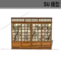 日式竹子图案滑动门