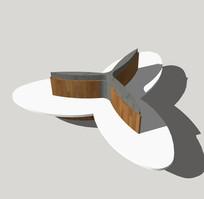 三叶草形景观坐凳su模型