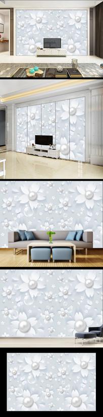 现代简约花卉欧式背景墙