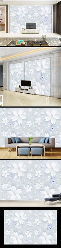 现代简约手绘花卉背景墙