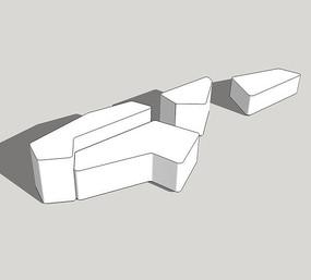 现代组合景观坐凳su模型 skp