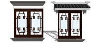 新中式建筑窗户su模型
