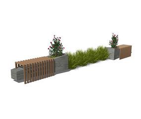 新中式景观创意坐凳su模型 skp