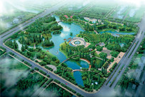 中心公园景观设计鸟瞰图