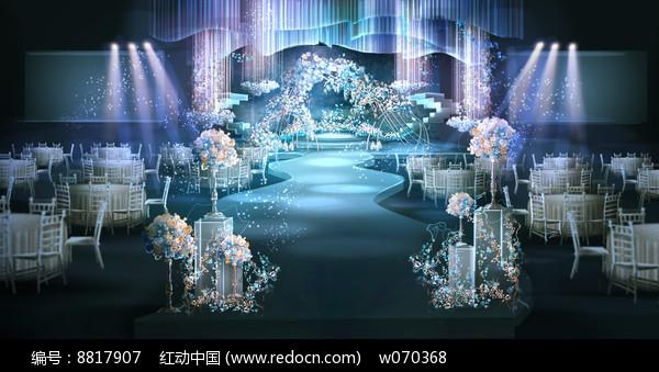 冰蓝浪漫时尚婚礼效果图设计图片