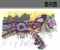 彩色城市道路景观节点平面图