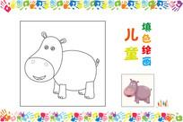 儿童简笔画河马图案