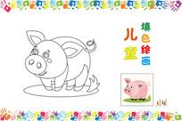 儿童简笔画小猪图案