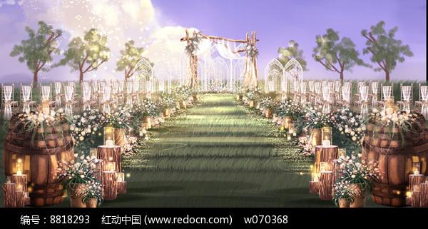户外草坪清新浪漫婚礼效果图图片